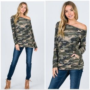 CAMO OFF SHOULDER LONG SLEEVES - TOP